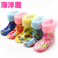 Free shipping child rain boots baby rainboots winter thermal plus velvet liner cotton water shoes male female child's rain boots