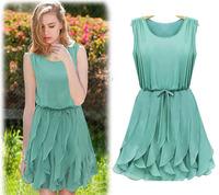 Free Shipping 2013 new arrival elegant ruffle skirt chiffon knee-length dress LY121037