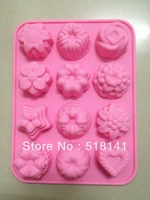 Min order $15 (mix order) silicone cake mold 12 flower shapes DIY muffin chocolate mould cube mold pudding mold free shipping