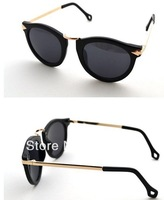 Free shipping2012 new Black-rimmed metal retro round sunglasses glasses fashion high quality women men brand glasses frame