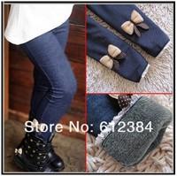 New free shipping 5pcs 2013 kids girls jean bow pants cotton cashmere leggings elastic waist legging warm pants winter wholesale