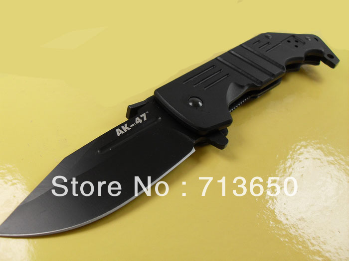 AK-47 Gold Steel Tactical Hunting Pocket Knife Folding Knives black Blade FREE SHIPPING(China (Mainland))