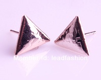Free shipping wholesale metal rose gold punk triangle stud earrings,12prs/lot
