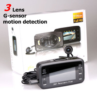 Car DVR F8 three Lens Car camera 360 Degree Supper View Angle car black box With G-sensor and Motion Detection car black box
