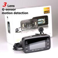 Car DVR F8 three Lens Car camera 360 Degree Supper View Angle car black box With G-sensor and Motion Detection car black box