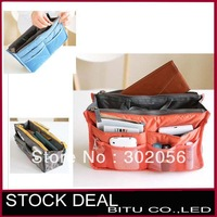 MOQ 1 pcs Free shipping 7 color Lady's organizer bag multi functional cosmetic bag organizer BS01p