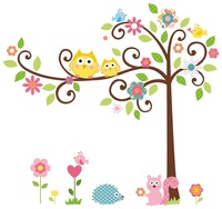 Free shipping Owl Scroll Tree Branch Wall Art Decal Removable Nursery Kids Stickers home Decor Deco large Children room