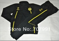 2014 Best  Quality Dortmund Ucl Champions League Black Soccer Tracksuit Uniforms Training Suit Top with Pants