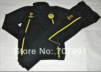 2014 Best  Quality Dortmund Ucl Champions League Black Soccer Tracksuit Uniforms Training Suit Top with Pants