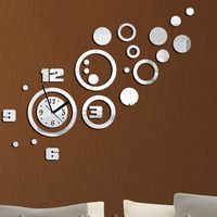 Home decoration!Mirror effect wall clock Modern design,the wall hours,wall decoration living room,wall watch,Free shipping Z065