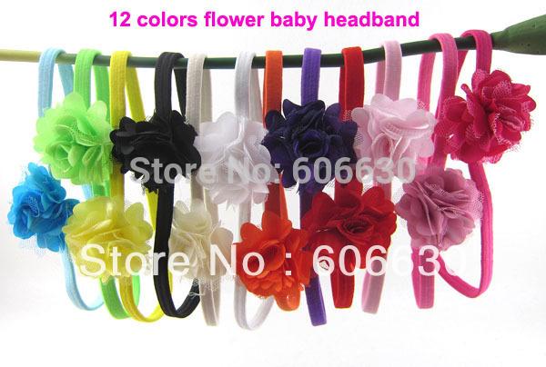 Free Shipping Satin grenadine Flower Headbands Elastic head bands Babys/Kid's Hairbands Baby Hair Accessories 12pcs/lot SD-502(China (Mainland))