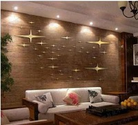 FREE SHIPPING 66PCS  Star mirror wall stickers B  style GOLD Gummed  The living room bedroom wall decoration