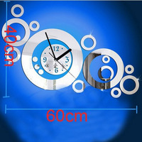 Free shipping 3d Best home decoration !mirror wall clock .DIY clock,Unique gift !The butterfly and flowers Z045