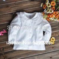 Female child 100% cotton basic shirt spring 100% cotton lace decoration infant baby basic shirt white top
