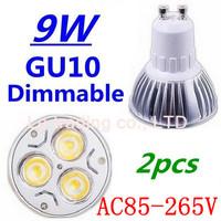 2pcs/lot Dimmable GU10 3X3W 9W Led Lamp Spotlight 85V-265V Led Light downlight High Power Free shipping