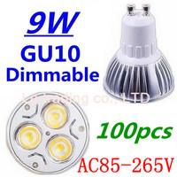 100pcs/lot Dimmable GU10 3X3W 9W Led Lamp Spotlight 85V-265V Led Light downlight High Power Free shipping