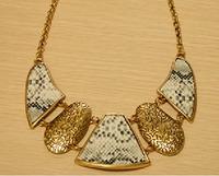 Fashion vintage metal clothes gold snake skin serpentine pattern necklaces
