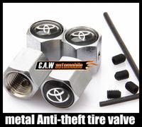 Free shipping 1set Car Logo emblem Anti-theft Tire Valve Caps for Toyota black metal Tire Valve Stem Caps easy DIY decoration