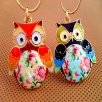 HOT SALE!!! Free Shipping Fahion Women's Retro Short  Jewellery Exquisite Glaze Color Drops Owl Necklace Wholesale&Retail