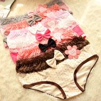 Freeshipping (5pieces/lot) Cartoon underwear Fresh cotton dot bow lace underwear ladies underwear