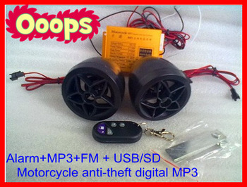 ~cheapest promotion Motorcycle alarm / motocycle MP3 Audio alarm system +Motorcycle anti-theft digital MP3 +FM+usb/sd