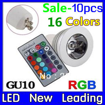 holiday promotion sale RGB 3W GU10 10PCS   led light Remote Control LED Bulb 16 Color Changing