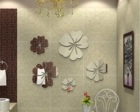 HOT BABY 5PCS 30cm Flower sticekrs 3d best home decoration mirror DIY wall mirror sticker Free shipping  flos hibisciP010