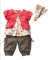 retail free shipping cotton floral summer baby girl clothing set 3 pcs kid's set hair band+t shirt+pantsl short sleeve suit