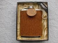 Wholesale - High quality HONEST  8oz  Whiskey flask brown leather flower emblem Liquor Alcohol hip flask