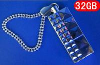 free shipping + 32gb gs15 usb flash drive usb flash drive lanyard sparkling diamond plate