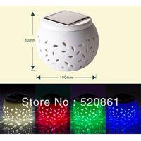Free shipping  RGB color Ceramic art decoration light/Mini  Porcelain  solar lights/portable solar table lighting