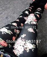 New 2014 Womens The Korean Fashion Leggins Denim Leggings BLack Roses Wholesale Slim Fitness Casual Pants Free Shipping S103-56