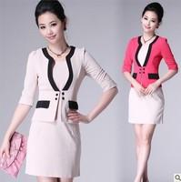 Free shipping Hot Sale office lady women OL uniform career dress suits (coat + dress ) fashion business set for work wear 1828