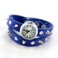 Free Shipping Rivet punk 100% Excellent fashion Quality Cow Leather winding women Watches spike Leather bracelet watch