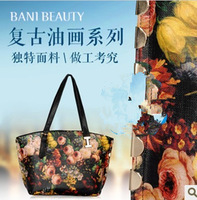 2013 vintage oil painting bag flower bag print bucket bag picture package portable women's cross-body bag free shipping