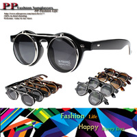 Vintage fashion Hot sunglasses steampunk double flip round metal frame designer sunglasses women and men