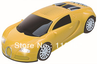 Free shipping:New fashion car model,Portable mini speaker TF/USB/FM Radio Bugatti for iPhone4/4s/5/ ipod-Yellow