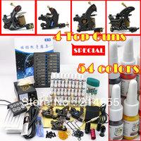 4 Tattoo Machine Guns Power Supply 54 Inks Needles Grips Tips Complete Tattoo Kit Accessories Set #WSN-A4003