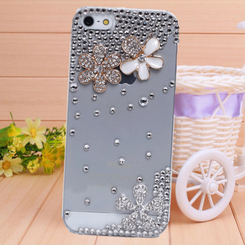 Handmade fresh flowers case for iphone 4 4s diamond bling case phone bag protective sleeve shell 1PC free shipping