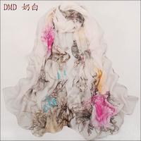Free shipping summer color block decoration gradient chiffon silk long design women's thin scarf for women SC0116