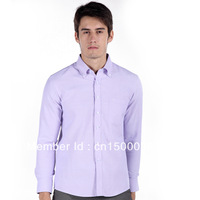 2013 new, easy-care Oxford business suits Men's long-sleeved   Eggplant cyan shirts, free shipping