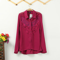 2013 New Women's Vintage Lace Patchwork Chiffon Blouse OL Elegant Blouse Quality Casual Shirt Slim HM Designer Brand Tops 4color