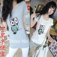 Summer basic shirt female slim women's top fashion owl o-neck short-sleeve T-shirt Free shipping
