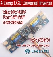 "Free shipping 20PCS AVT4028 PC LCD MONITOR CCFL 4 LAMP universal lcd inverter board,4 Lamp 10V-30V For 15-26"" screen"