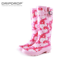new 2013 Women's flower fashion jelly flat tall boots rainboots water shoes