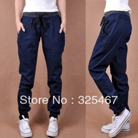 Free Shipping 2013 Spring and Autumn Casual Jeans Women Loose Pants Feet Were Thin the big code Harlan long pants