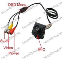 Mini HD 16mm Mega lens Box Sony 700TVL A/V OSD Menu CCTV Color camera MIC