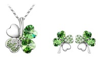 Best Gift,Promotion, Free Shipping Flower Clover Crystal Jewelry Sets, Earrings /Necklace Sets,22 colors choice ,HSJS001