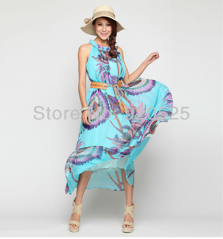 8014 Free shipping New Women's Lady Bohemia Boho Maxi beach Long Dress Chiffon Sundress dropship Whoelsale(China (Mainland))