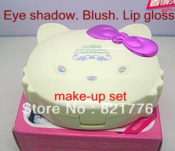 100% real Minerals makeup Set hello kitty cat eye shadow blush lip gloss Free tools(China (Mainland))